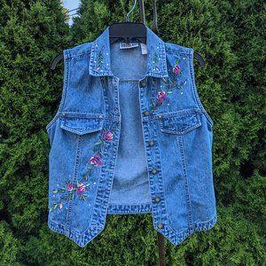 Bill Blass Rose Embroidered Denim Vest